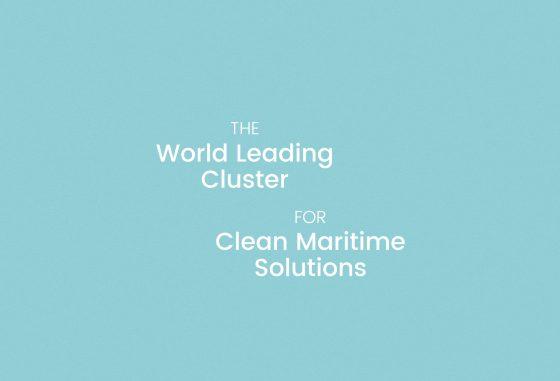 NCE Maritime Clean Tech slogan på blågrønn bakgrunn