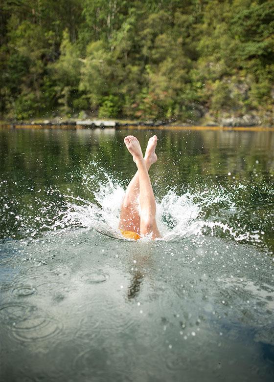 Noen som stuper i vannet fra bryggen