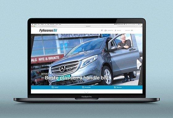 Fylkesnes Bil's nettsider vist på dataskjerm