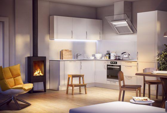 3d-visualisering av et kjøkken