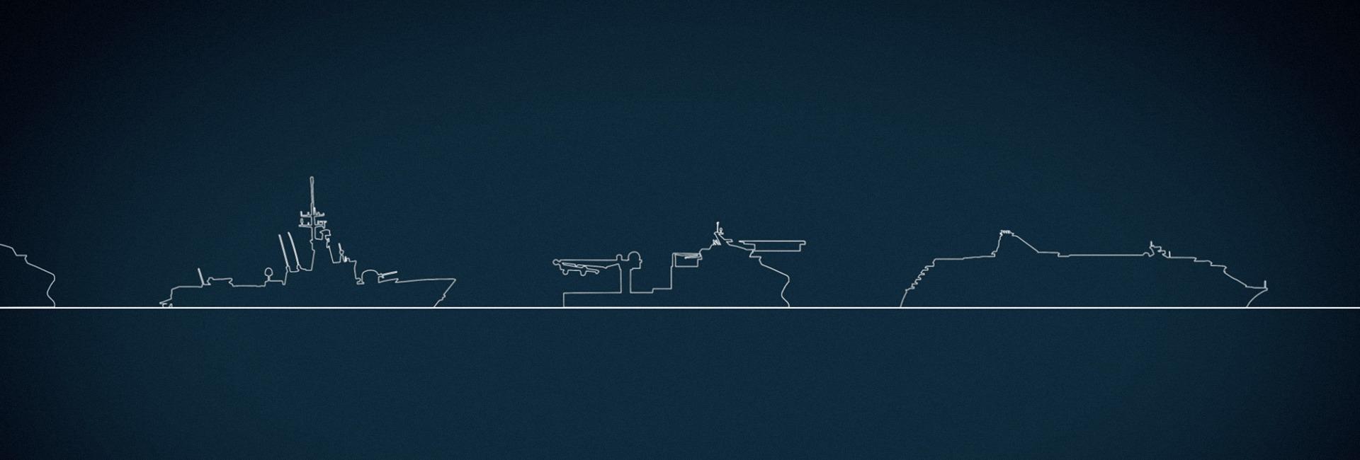 Strektegning av ulike fartøy