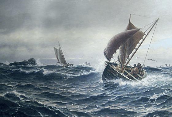 Oljemaleriet «Fiskere ved Kvitsøy» av kunstneren Haakon Jensen Kaulum. Brukt presentasjonssammenheng