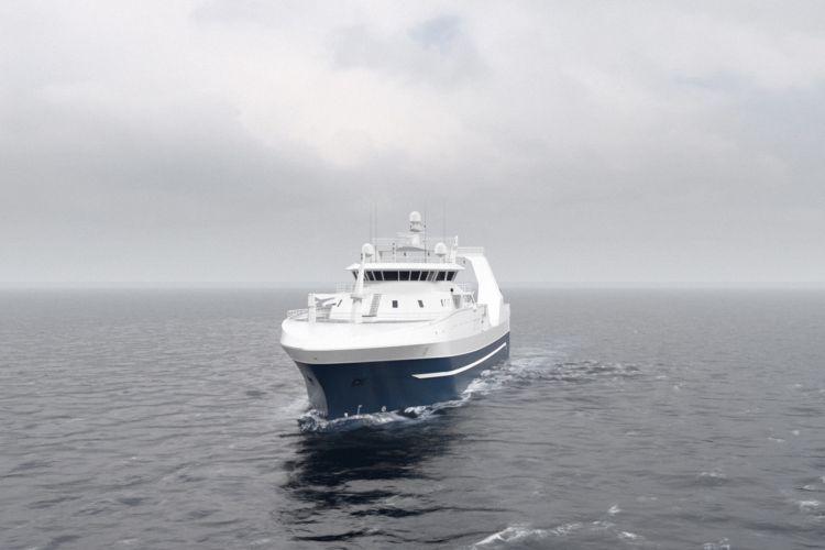 Skjermbilde av 3d-visualisering av Wärtsilä Stern Trawler