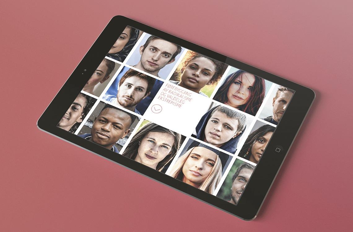 Ipad med den digitale versjonen av «Førebygging av radikalisering og valdleg ekstremisme»