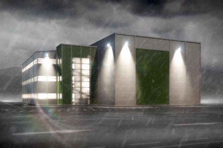 Skjermbilde fra 3d-filmen Frontahallen. Bygget er ferdig og det begynner å regne