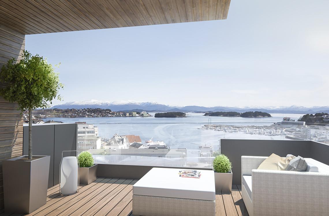3d-visualisering. Utsikt fra balkongen i Meierikvarteret