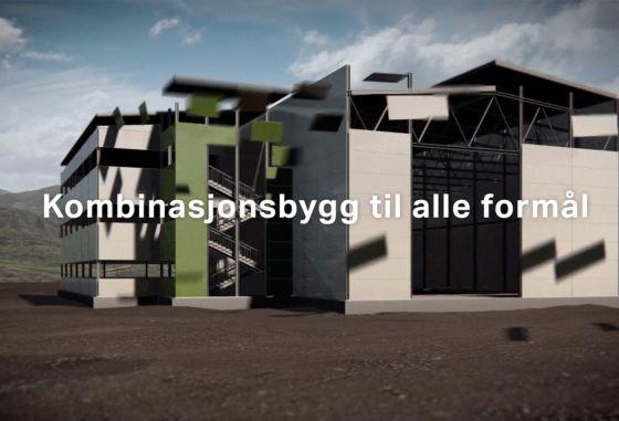 Skjermbilde fra 3d-filmen Frontahallen. Bygget reiser seg selv. «Kombinasjonsbygg til alle formål» kommer opp midt i bildet