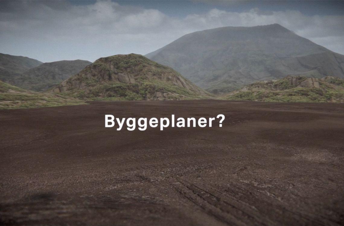 Skjermbilde fra 3d-filmen Frontahallen. Ordet «Byggeplaner?» kommer opp midt i bildet