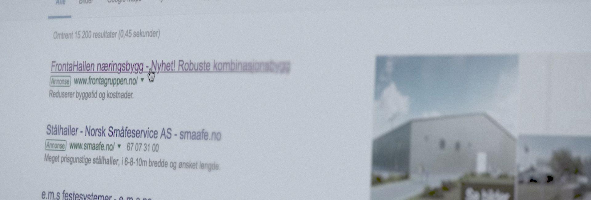 """Bilde av Googlesøk på """"stålhall"""" hvor Fronta kommer på topp"""