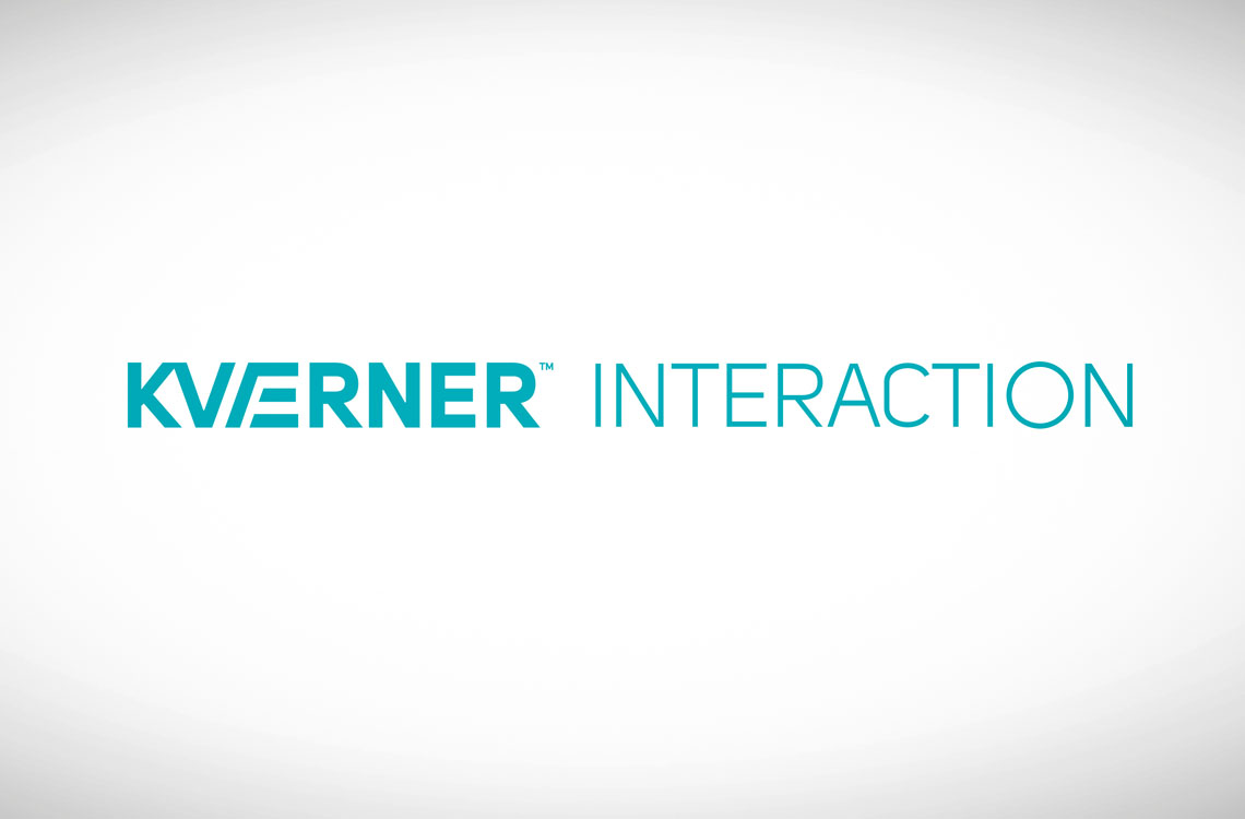 Teksten «Kværner interaction» i blått