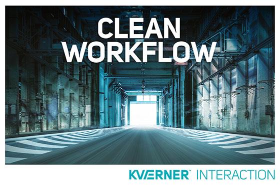En ren og ryddig produksjonshall med teksten «Clean Workflow» i stort over.