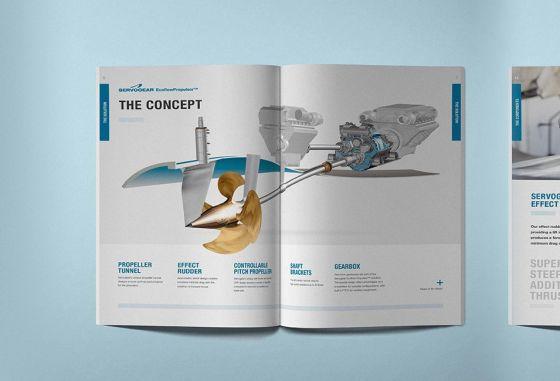 Katalogen til servogear. Forside og to oppslag.