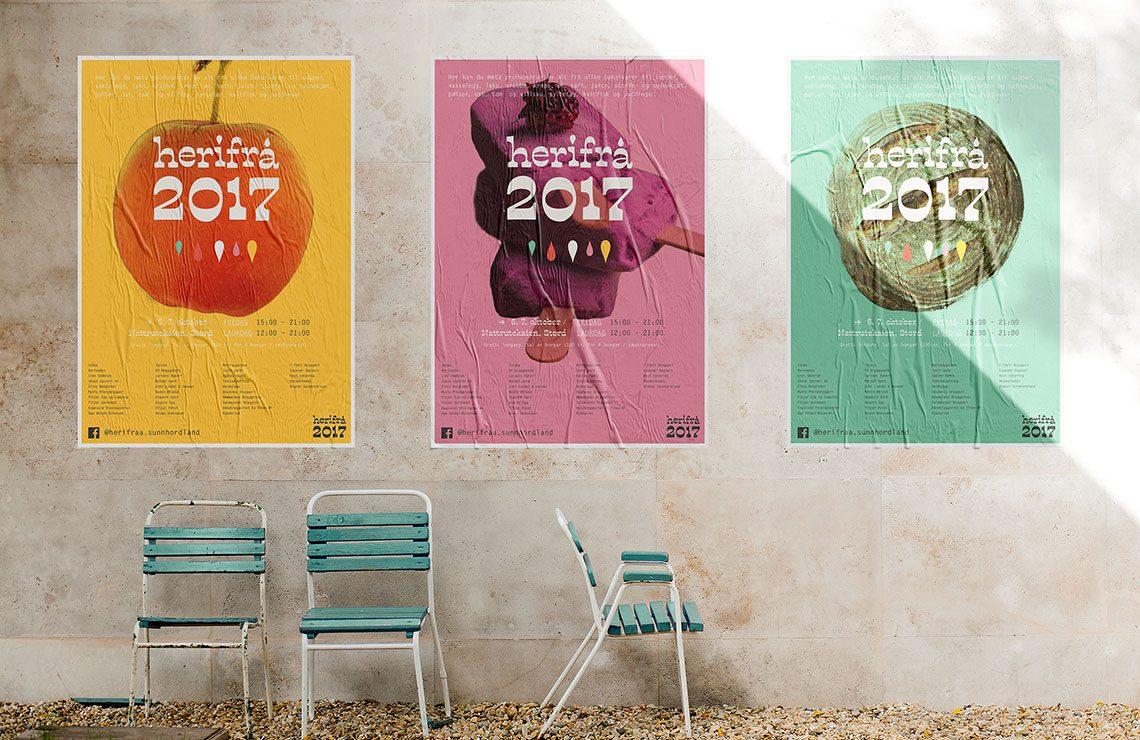 Herifrå-plakatene montert på vegg