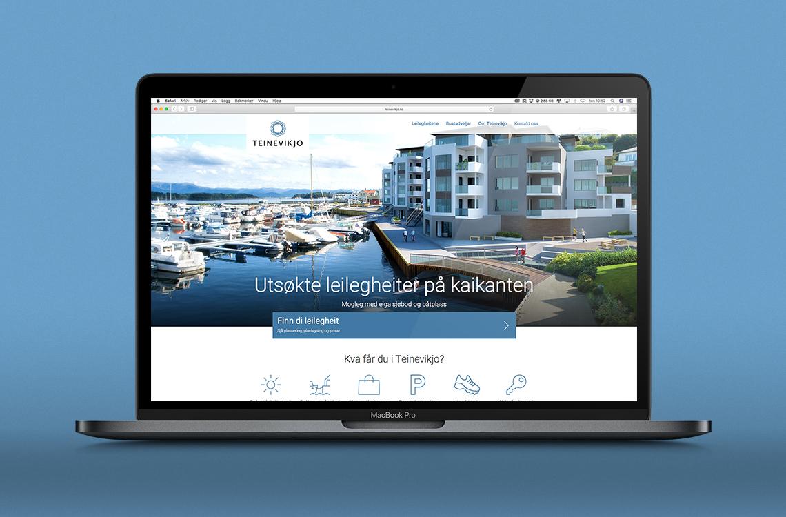 Nettsiden til Teinevikjo vist på en laptop